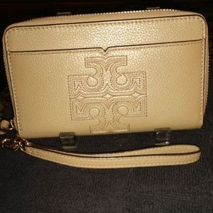 Tory Burch tan leather zip around wallet